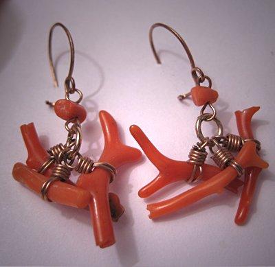 Antique Coral Earrings Vintage Victorian Dangle Drops 1880