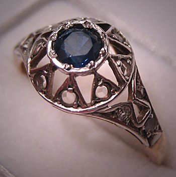 Antique Georgian Ring Rose Cut Diamond Sapphire Wedding Victorian