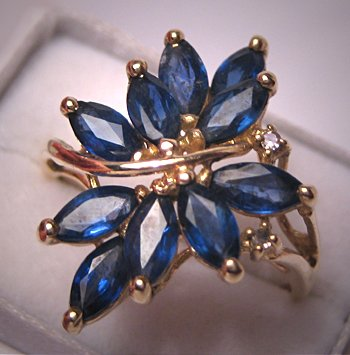 Vintage Retro Sapphire Cocktail Ring Diamond Deco Gold