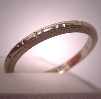 Vintage Wedding Band Antique Art Deco Ring 18K White Gold