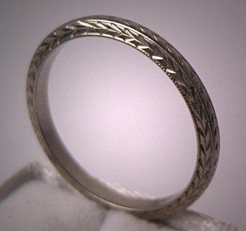Vintage Wedding Ring Eternity Band 18K White Gold Art Deco