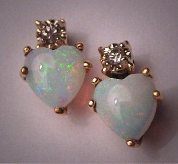 Vintage Victorian Australian Opal Diamond Earrings Heart 14K Gold