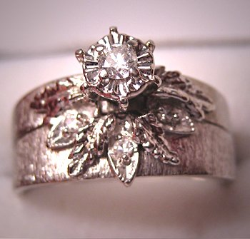 Vintage Diamond Wedding Ring Set White Gold Art Deco Antique