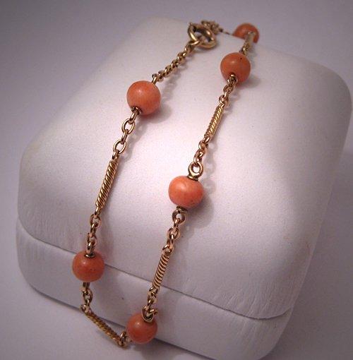 Antique Victorian Bracelet Coral Gold Links Vintage 1900