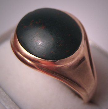 Antique Bloodstone Ring Victorian Vintage Rose Gold Signet Ring