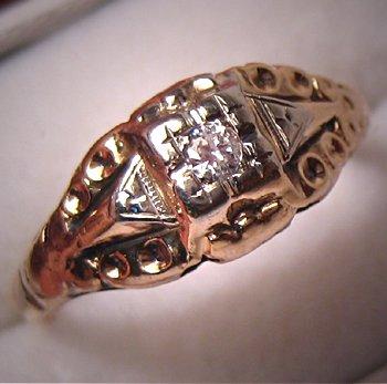 Antique Diamond Wedding Ring Victorian Vintage Gold