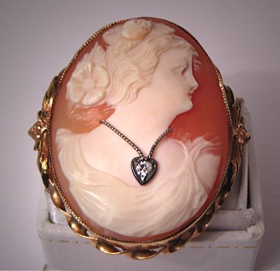 Antique Cameo Pendant Brooch Diamond Necklace Victorian Deco