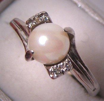 Estate Jewelry Vintage Pearl Diamond Ring Deco White Gold