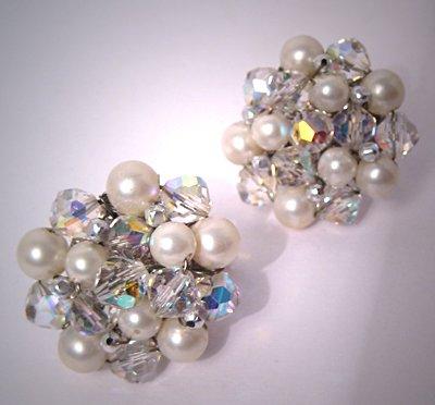 Designer Costume Jewelry Vintage Vendome Pearl Crystal Earrings