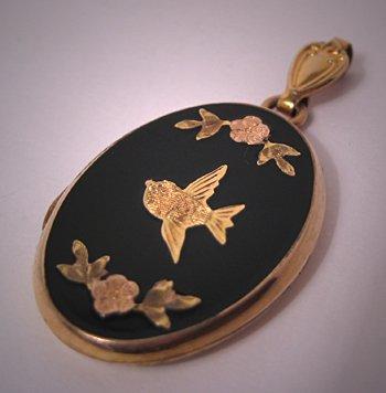 Antique Locket Victorian Bird Enamel Gold Floral Art Deco