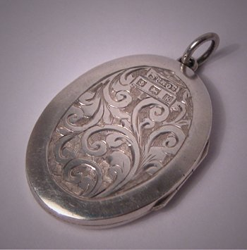 Antique Locket Victorian Silver 1909 Chased Pattern Sterling