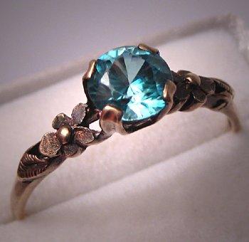 Antique Blue Zircon Ring Vintage Wedding Ring Art Deco