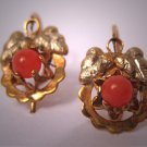Antique Coral Earrings Victorian Gold Vintage Estate Jewelry