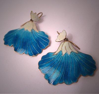 Vintage Enameled Earrings Art Nouveau Flower Motif Jewelry