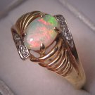 Vintage Australian Opal Diamond Ring Estate Jewelry 14K Gold