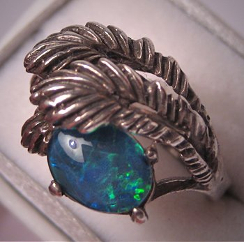 Vintage Black Opal Ring Retro Deco Estate Jewelry