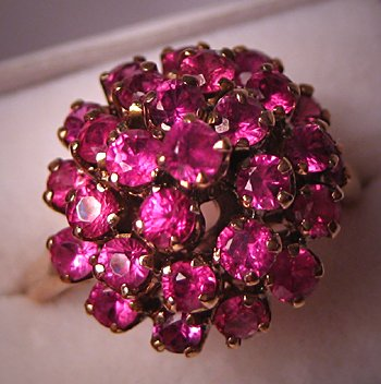 Antique Ruby Moghul Ring Vintage 14K Gold Deco Jewelry