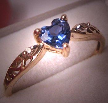 Vintage Tanzanite Diamond Ring Gold Fine Estate Jewelry