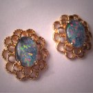 Estate Vintage Australian Opal Earrings Gold Jewelry