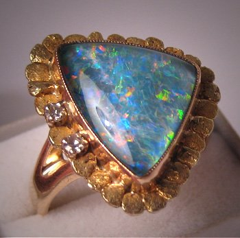 Vintage Gold Nugget Opal Diamond Ring Fine Estate Jewelry