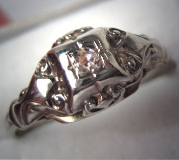 Antique Wedding Ring Vintage Art Deco Diamond White Gold 1910
