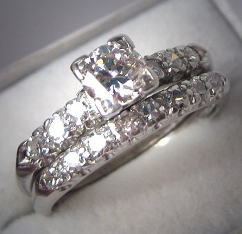 Antique Platinum Diamond Wedding Ring Set Vintage Deco