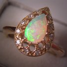 Estate Australian Opal Diamond Ring Vintage 14K Yellow Gold