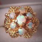 Antique Estate Australian Opal Ring Vintage Retro Deco Style