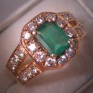 Estate Vintage Emerald Diamond Ring 14K Gold Wedding 6