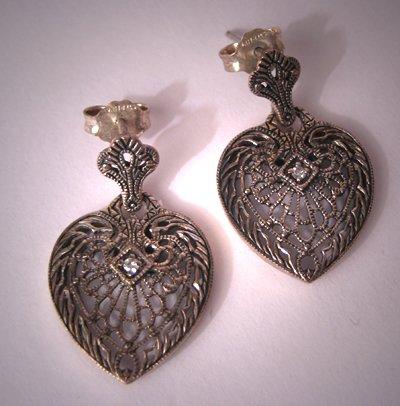 Estate Vintage Filigree Diamond Earrings Heart Art Deco