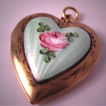 Antique Enameled Locket Vintage Art Deco Heart