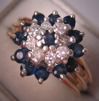Estate Sapphire Diamond Ring Vintage Cocktail Band