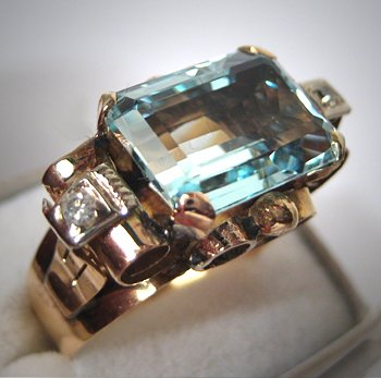 Antique Art Deco Aquamarine Diamond Ring Vintage