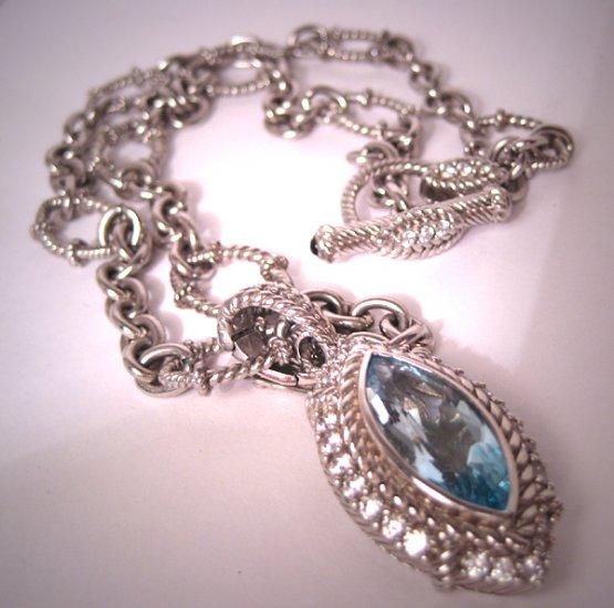 Judith Ripka Topaz Pendant Necklace Toggle Chain Estate
