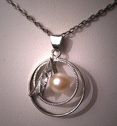 Antique Pearl Necklace Akoya Pearl Silver Chain