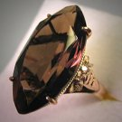 Vintage Smokey Topaz Ring Retro Deco 14K Gold