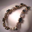 "Estate Sapphire Diamond Bracelet Tennis Vintage 18K 7"""