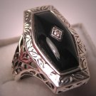 Vintage Diamond Ring Art Deco Filigree Onyx Estate