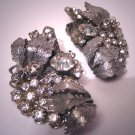 Fabulous Lg Vintage Rhinestone Earrings Designer Signed Haskell Style