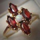 Estate Vintage Opal and Garnet Ring in 14K Gold