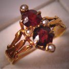Antique Garnet Pearl Ring Victorian Vintage Gold