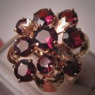 Antique Garnet Ring Vintage Art Deco Gold