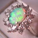 Estate Australian Opal Diamond Ring Vintage White Gold