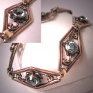 Antique Blue Zircon Bracelet Art Deco Rose Gold Vintage