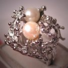 Vintage Pearl Ring Ornate Retro Setting Estate Jewelry