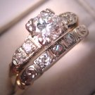 Antique Diamond Wedding Set Vintage Art Deco