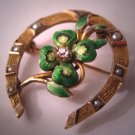 Antique Diamond Enamel Brooch Horseshoe Vintage Art Nouveau Gold