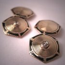 Antique Diamond Cufflinks Gold Art Deco Vintage Enamel