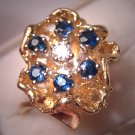 Vintage Sapphire Diamond Ring Wedding Antique 14K