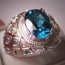 Estate Blue Topaz Blue Diamond Ring Vintage